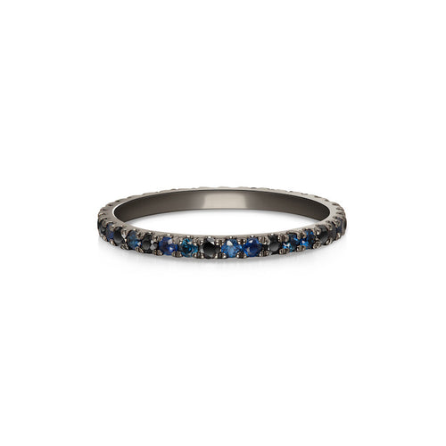 Selin Kent 14K Ocean Blue Eternity Band with Sapphires and Black Diamonds