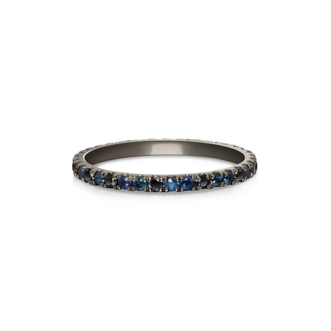 Defne Pavé Ring | Sapphire Marquise and Grey Diamonds