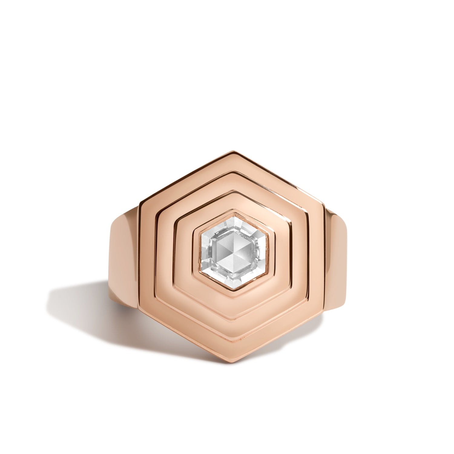 hex step ring with above ground hexagonal rose cut diamond in 14k rose gold