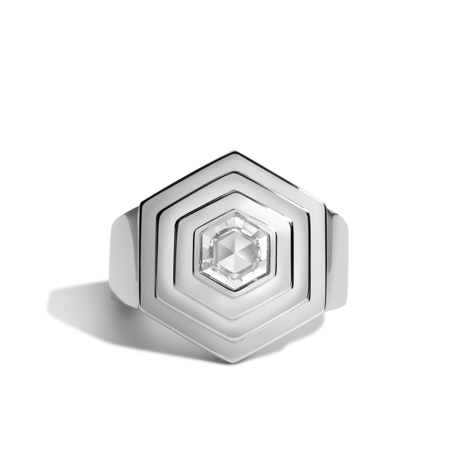 hex step ring with above ground hexagonal rose cut diamond in 14k white gold