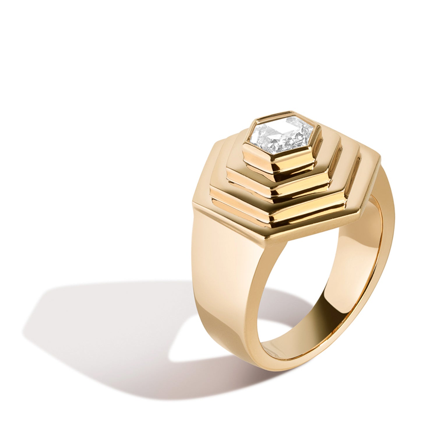 hex step ring with above ground hexagonal rose cut diamond in 14k yellow gold