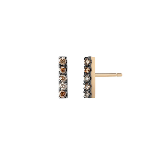Selin Kent 14K Terra Incognita Bar Studs with Mixed Champagne Diamonds, Cognac Diamonds, and Grey Diamonds