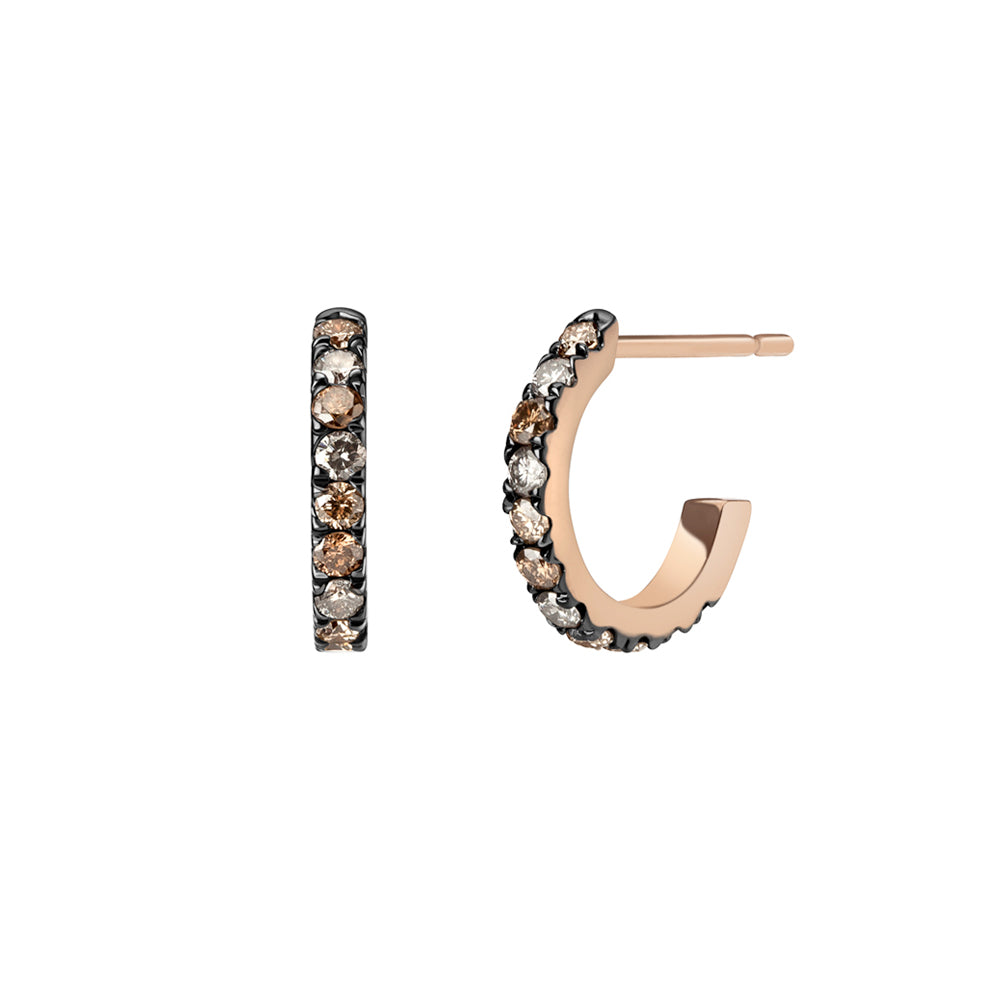 Selin Kent 14K Terra Incognita Huggie Hoops with Champagne Diamonds and Grey Diamonds