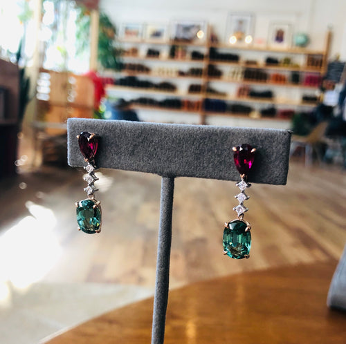 Tourmaline & Rubelite Drop Earrings