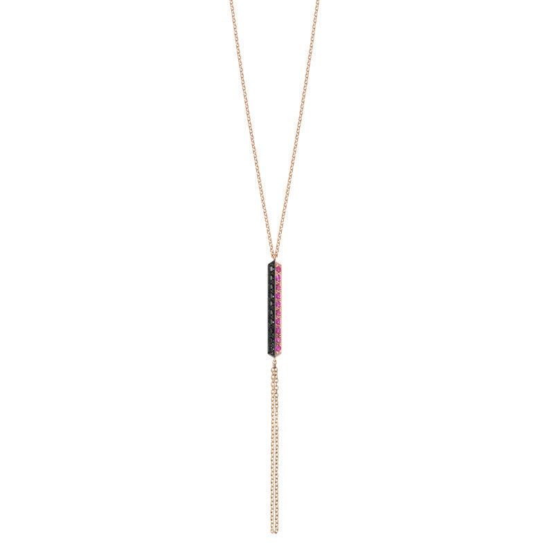 Selin Kent 14K Valli Lariat with Rubies and Black Diamonds
