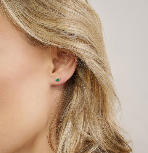 Ayda Studs | Emerald & White Diamond