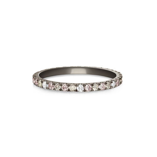 Night Sky Eternity Ring - Pink, Gray & White Diamonds
