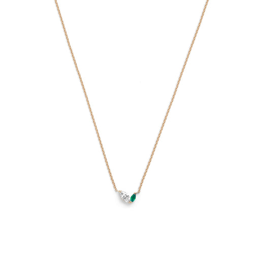 Defne Necklace | White Diamond & Emerald