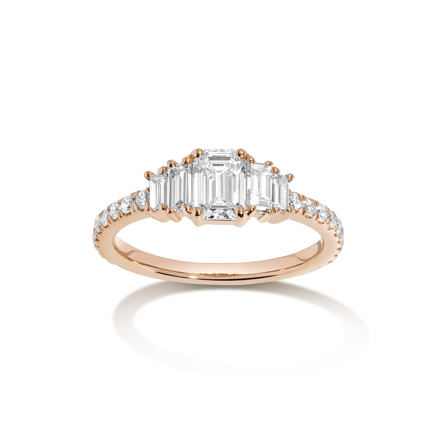 Crescendo Engagement Ring ~ Emerald Cut Diamond with Baguettes