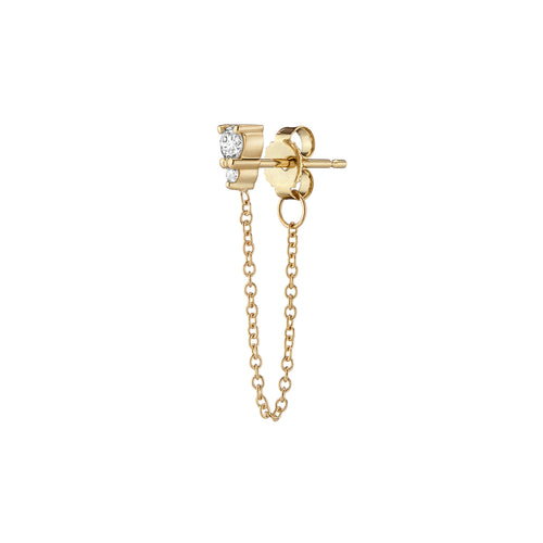 Ayda Chain Earrings | White Diamonds