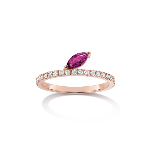 Defne Pavé Ring | Ruby Marquise and White Diamonds