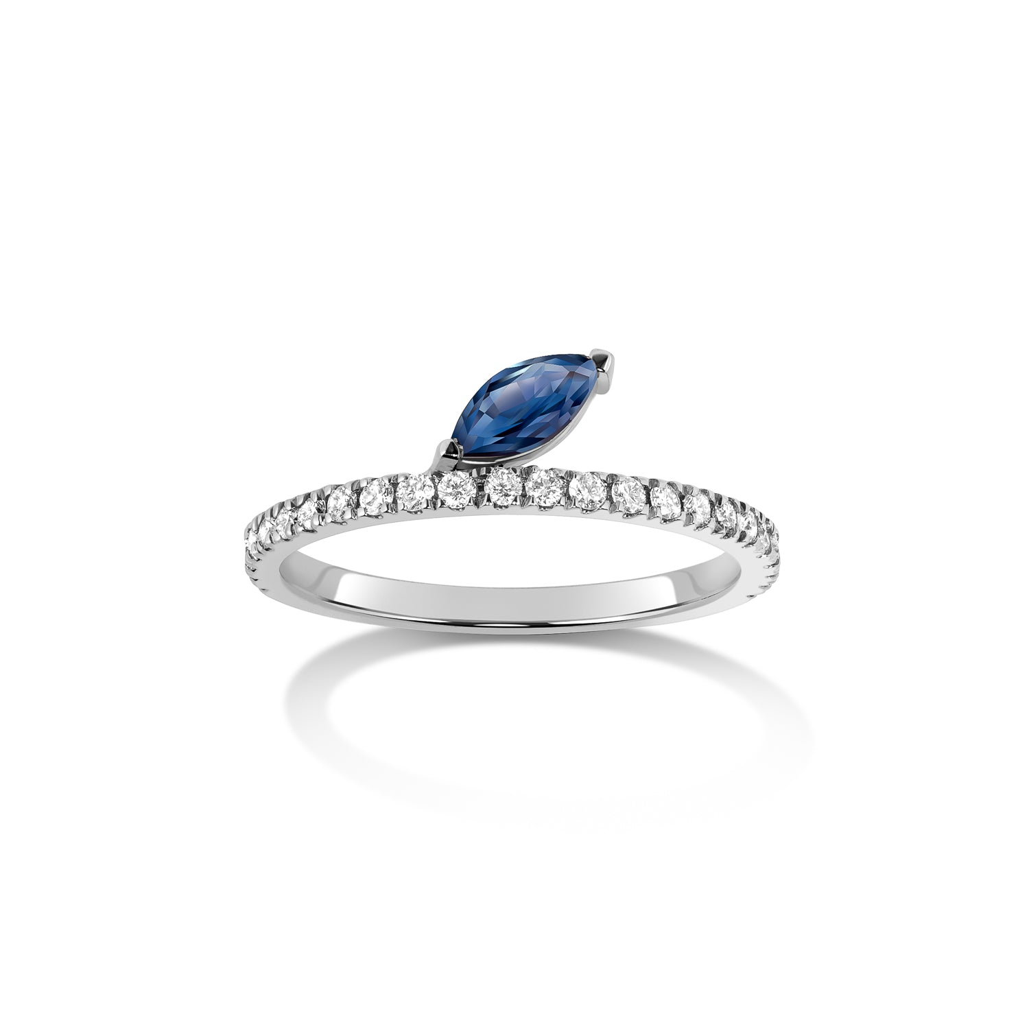 Defne Pavé Ring | Sapphire Marquise and White Diamonds