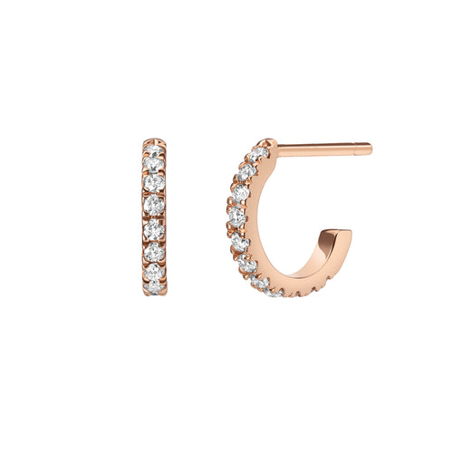 Selin Kent 14K White Light Huggie Hoops with White Diamonds