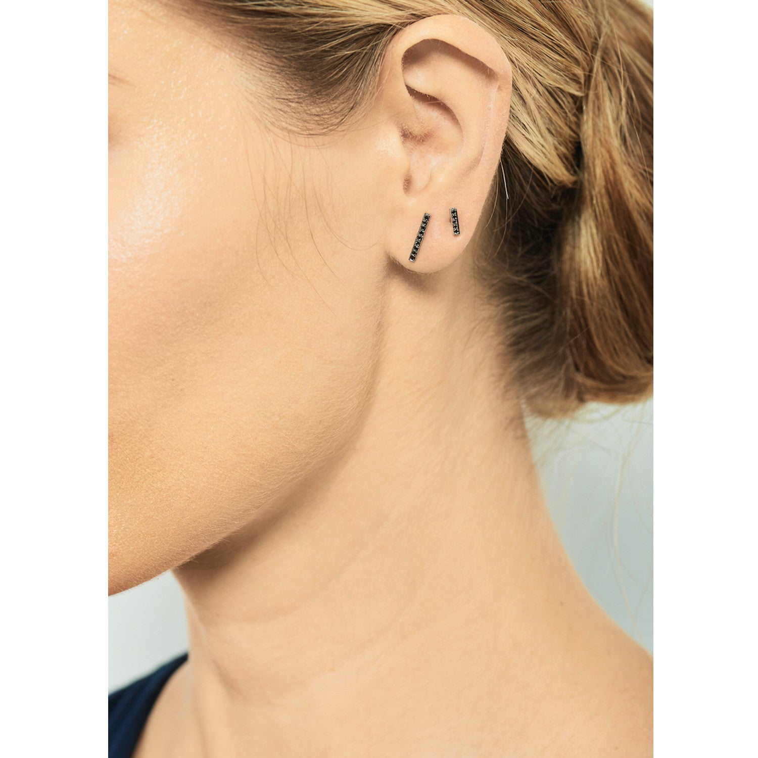 Selin Kent 14K Charlotte Pavé Studs with Black Diamonds - On Model