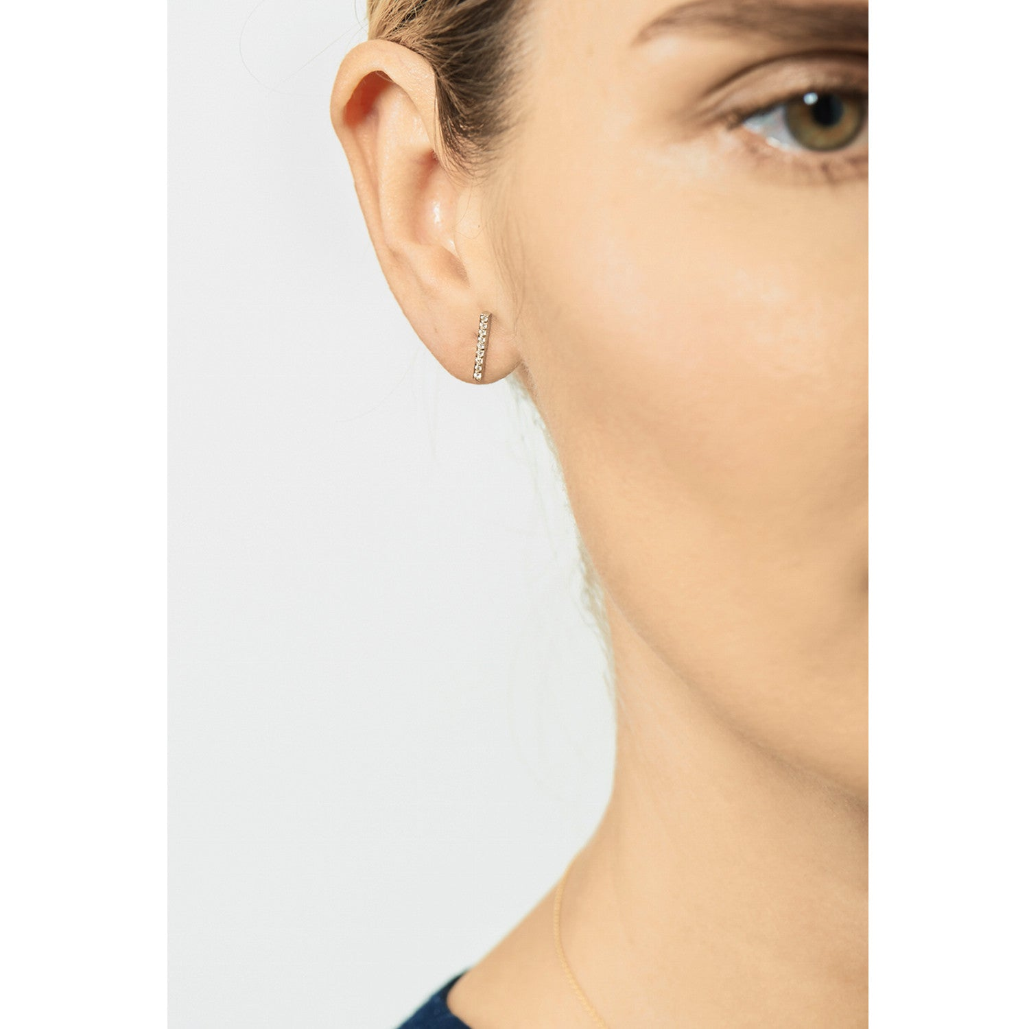 Selin Kent 14K Charlotte Pavé Studs with White Diamonds - On Model