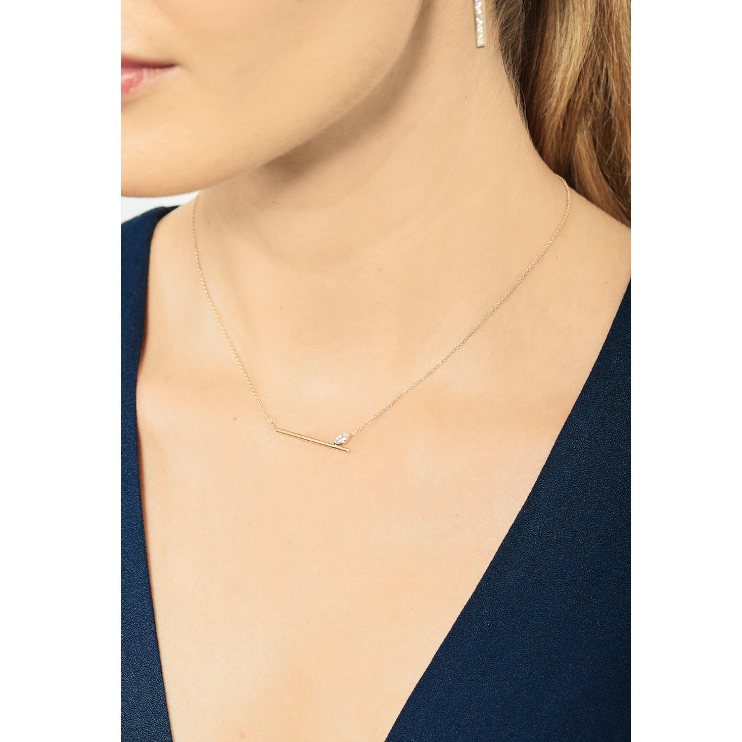 Selin Kent 14K Defne Bar Necklace with Marquise White Diamond