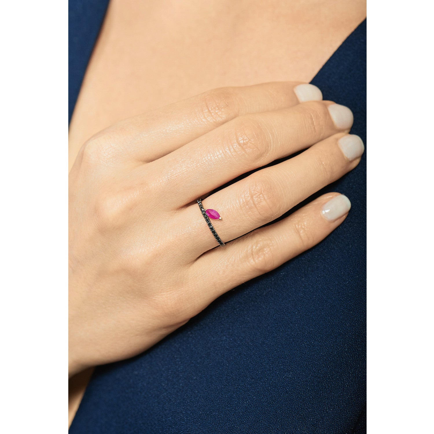 Selin Kent 14K Defne Pavé Ring with Ruby Marquise and Black Diamonds - On Model