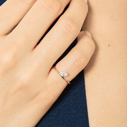Selin Kent 14K Defne Deluxe Ring with White Diamond Marquise - On Model
