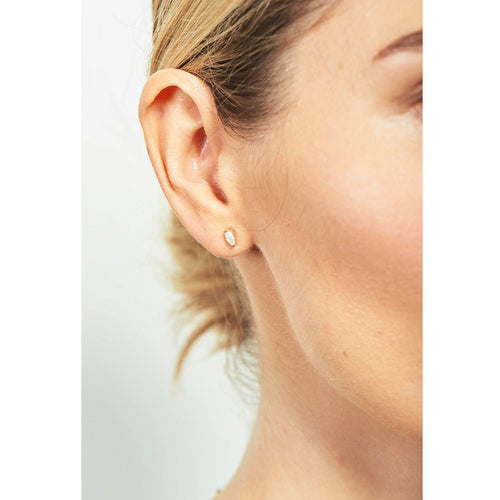 Selin Kent 14K Defne Studs with White Diamond Marquise - On Model