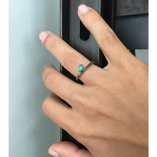 Selin Kent 14K Defne Pavé Ring with Emerald Marquise and Black Diamonds - On Model