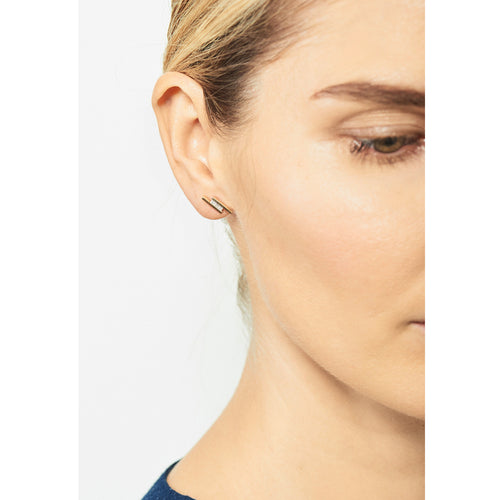 Selin Kent 14K Elena Mini Earring with Princess Cut White Diamonds - On Model