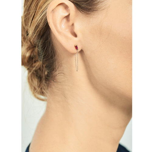 Selin Kent 14K Galana Chain Stud with Ruby Baguette - On Model