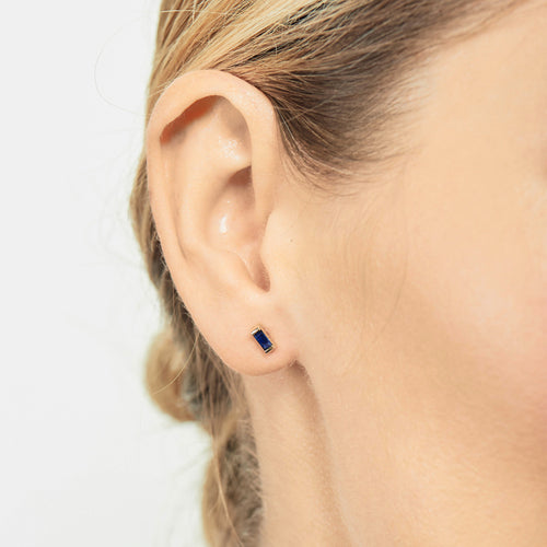 Selin Kent 14K Galana Stud with Sapphire Baguette - On Model