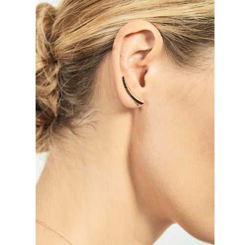 Selin Kent 14K Lana Earwire with Black Diamond Tip - On Model