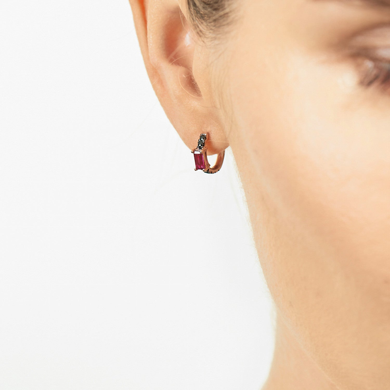 Selin Kent 14K Nikita Huggie Hoops with Black Diamonds and Ruby Baguettes - On Model