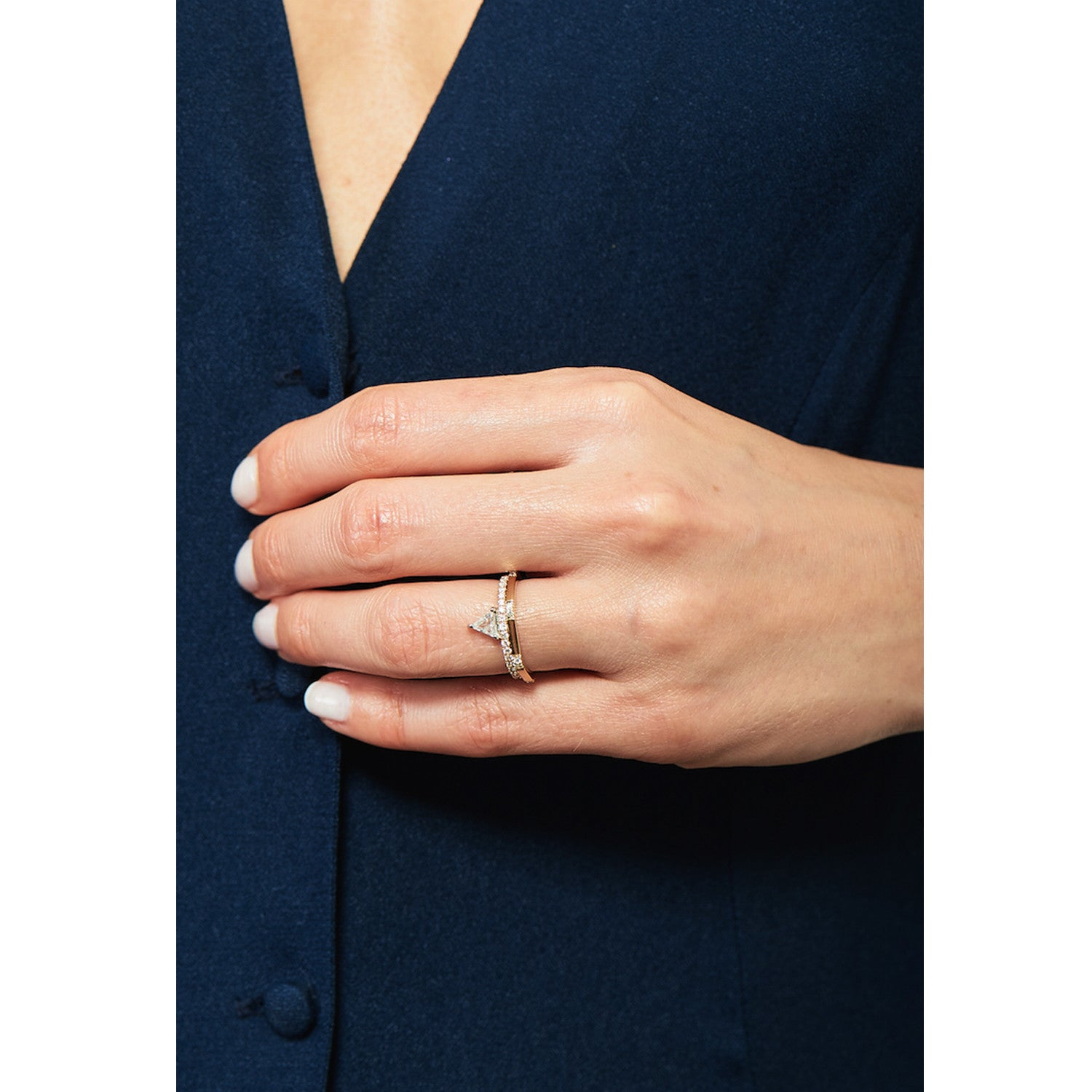 Selin Kent 14K Hex Ring II with White Diamonds - On Model