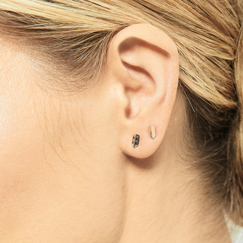 Selin Kent 14K Sophia Studs with Black Diamonds - On Model