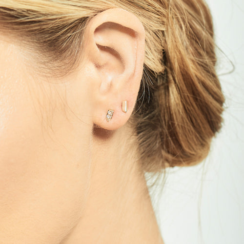 Selin Kent 14K Sophia Studs with White Diamonds - On Model