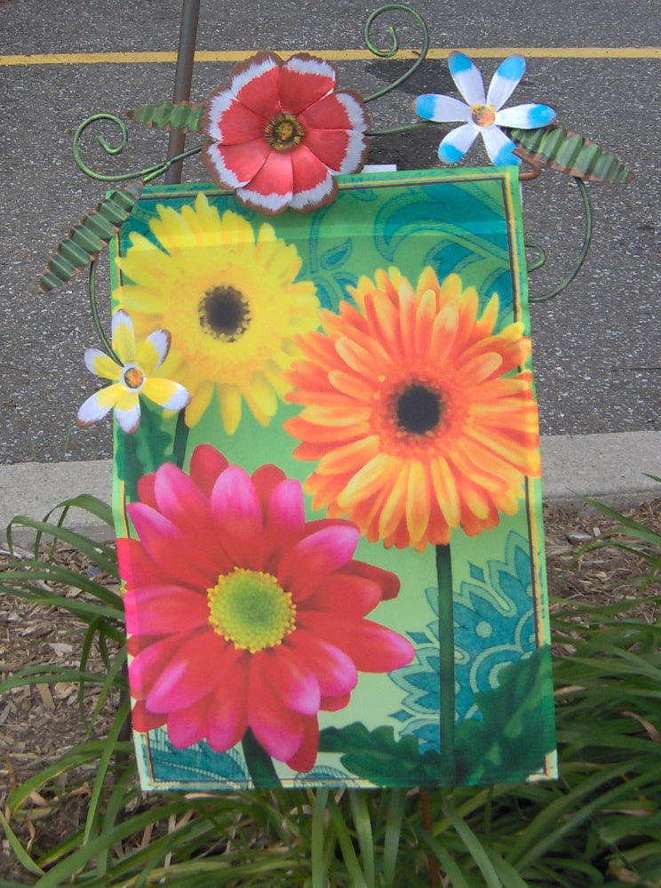 SPRING FLOWERS GARDEN FLAG STAND