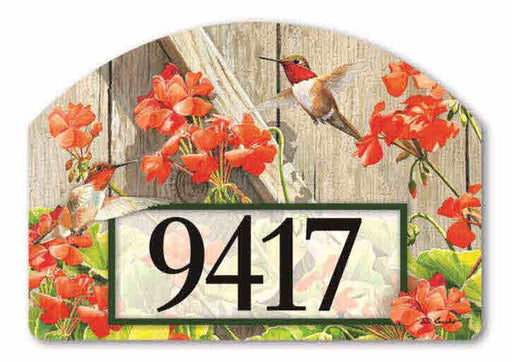 HUMMINGBIRDS WITH GERANIUMS MAGNETIC ADDRESS