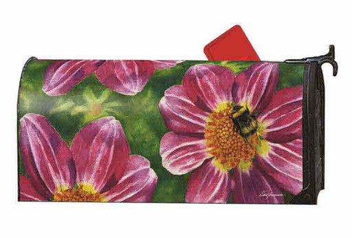 PINK FLOWER WITH BEE MAILBOX COVER