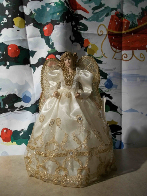ANGEL IN WHITE & GOLD TREE TOPPER