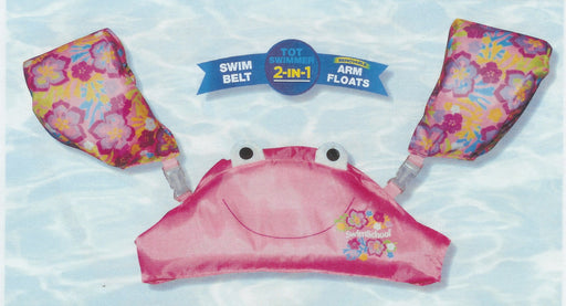AQUA TOT SWIMMER DETACHABLE ARM FLOATS & FLOAT BELT PINK