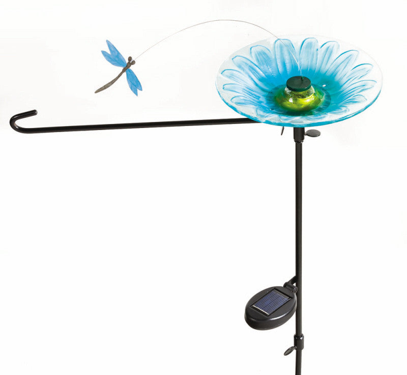 DRAGONFLY SOLAR POWERED SPINNER GARDEN FLAG STAND