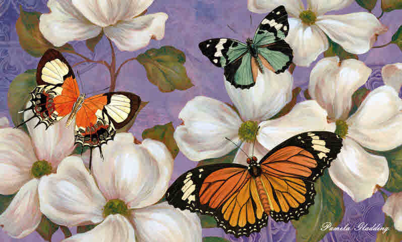 DOGWOOD, FLOWERS & BUTTERFLIES  INDOOR / OUTDOOR MAT
