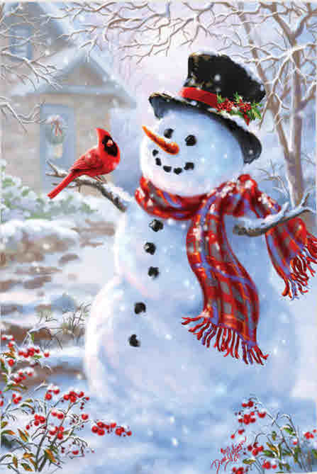 SNOWMAN & FEATHERED FRIEND