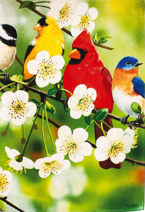 SONGBIRDS ON A FLOWERING BRANCH