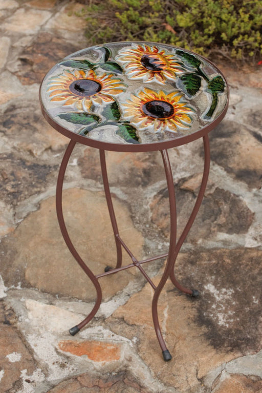 GARDEN TABLE ROUND GLASS SUNFLOWERS MOTIF