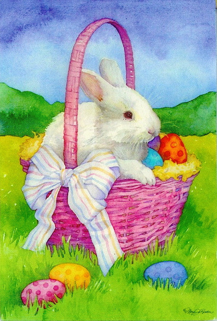 WHITE BUNNY BASKET