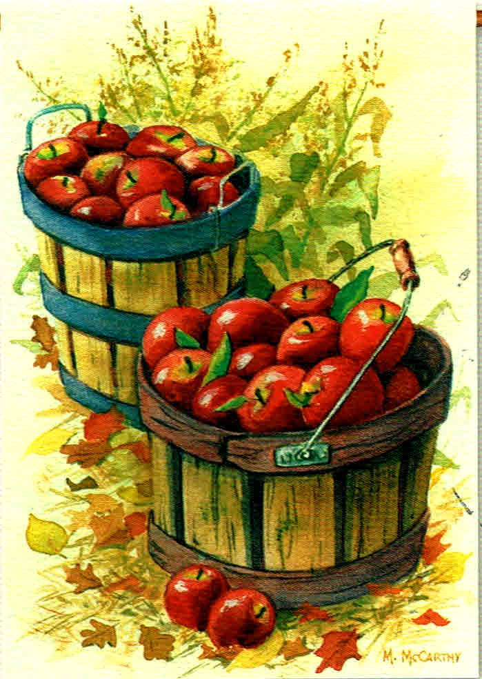 APPLE BASKETS AND CORNSTALKS