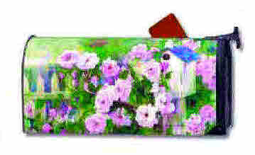 "ROSES AND BIRDHOUSE MAILBOX COVER LARGE 8"" X 21"""