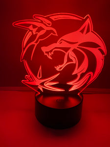Lampe 3D DEL Logo 3 Symboles The Witcher