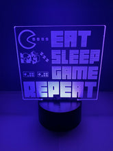 Lampe 3D DEL Eat Game Sleep Repeat