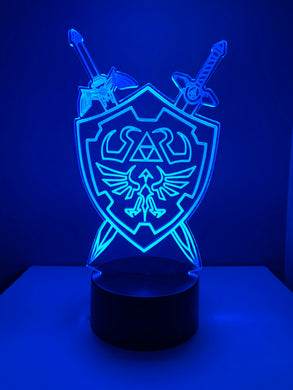 Lampe 3D DEL Bouclier et Épées The Legend Of Zelda