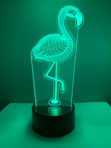 Lampe 3D DEL Flamand Rose