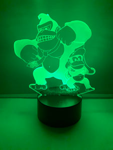 Lampe 3D DEL Donkey et Diddy Kong